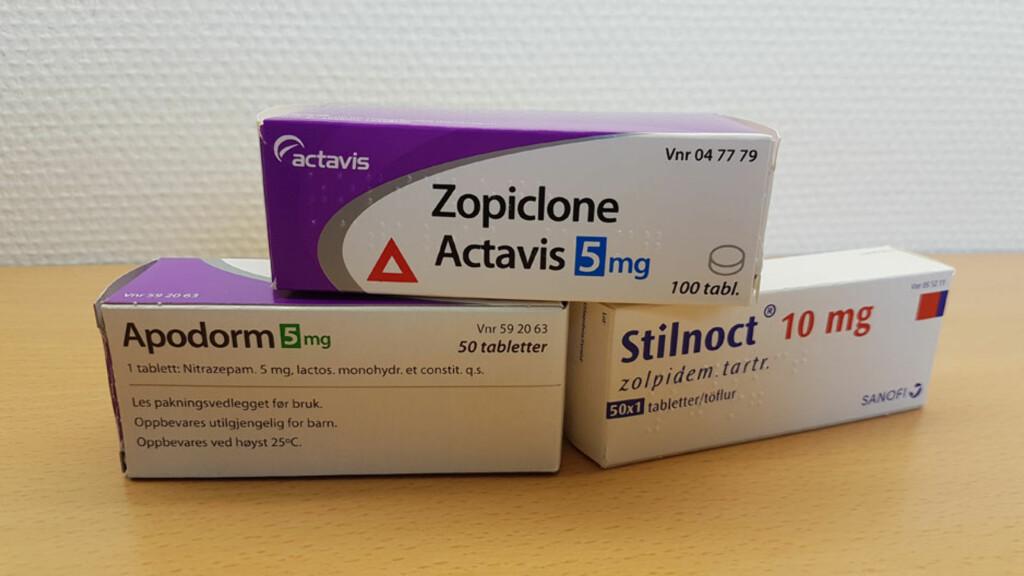 SOVEMEDISINER: Zopiclone, Apodorm og Stilnoct er eksempler på sovemedisiner. Foto: Lommelegen.no