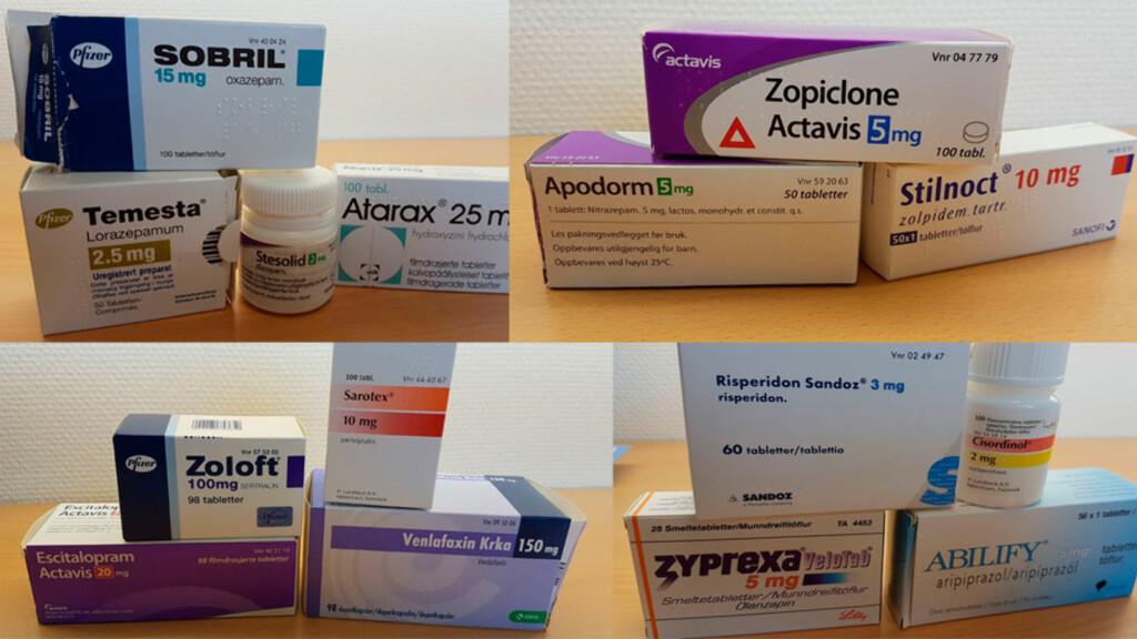 PSYKOFARMAKA: Antipsykotika, antidepressiva, stemningsstabiliserende medisiner, angstdempende medisiner og sovemidler er de fem medikamentgruppene innenfor psykofarmaka. Foto: Lommelegen.no