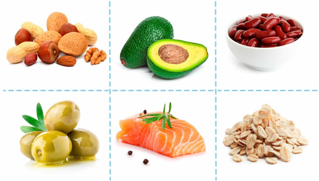MATVARER SOM DU BØR VELGE: Senker kolesterolet ditt. Spis mindre mettet fett, og mer av disse matvarene, så vil det dårlige kolesterolnivået i blodet synke. Foto: NTB Scanpix/Shutterstock / Lommelegen