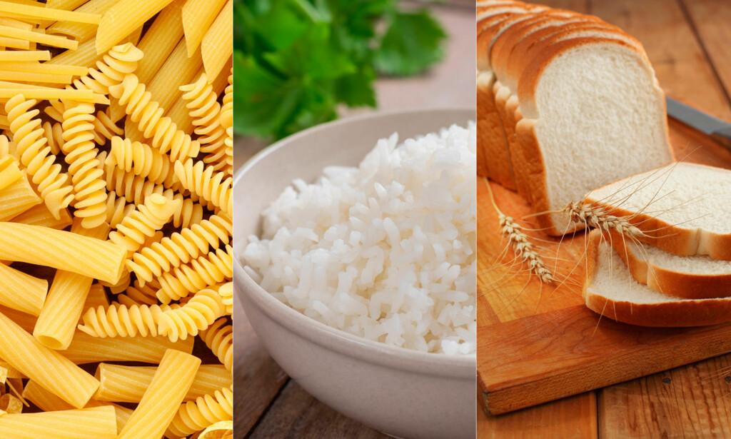 PASTA, RIS, HVETE OG POTET: Ved særlig vandig diaré kan kokt stivelsesholdig mat tilsatt salt være å anbefale.