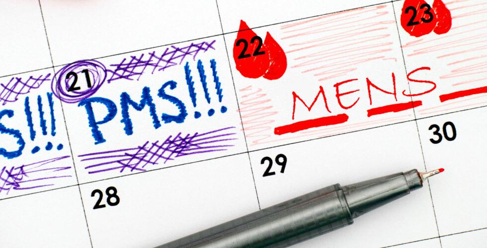 PMS: Fra dag 12 i syklusen til menstruasjonen starter kan man oppleve PMS-symptomer. Foto: NTB Scanpix / Shutterstock