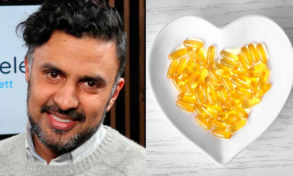 FOREBYGGER IKKE HJERTEINFARKT: Friske mennesker har ikke noen særlige hjertefordeler av å ta omega-3 tilskudd, forteller hjertespesialist Wasim Zahid. Foto: Lommelegen/NTB Scanpix/Shutterstock