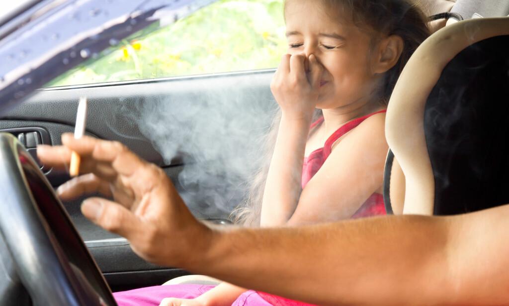 RØYKING I BIL: Å røyke i bilen gir raskt høy konsentrasjon av sigarettrøyk, som alle i bilen puster inn. Ny forskning finner en sammenheng mellom passiv røyking som barn og KOLS som voksen. Foto: NTB / Scanpix / Shutterstock
