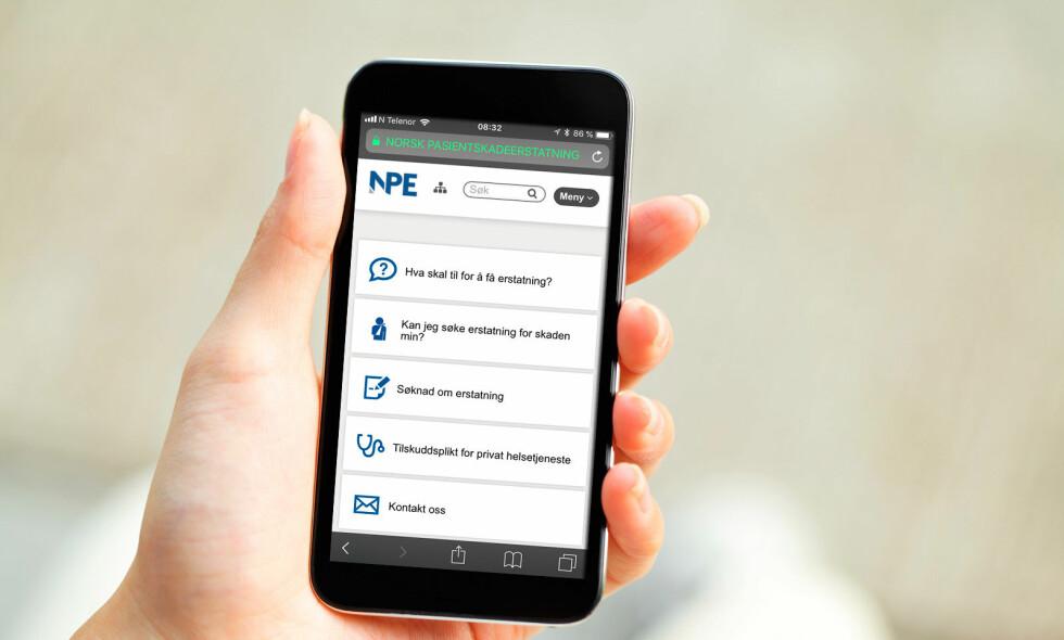 KAN JEG SØKE OM ERSTATNING FOR SKADEN MIN: Du får veiledende svar på nettsiden til Norsk Pasientskadeerstaning. Foto: NTB Scanpix / Screeenshot Npe.no