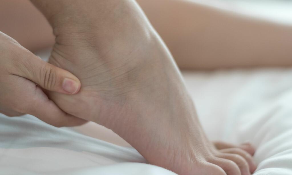 SMERTE I HÆLEN: Haglunds hæl kan gi smerter, hevelse og inflammasjon i bakfotens sener og slimpose. FOTO: NTB / Scanpix / Shutterstock.