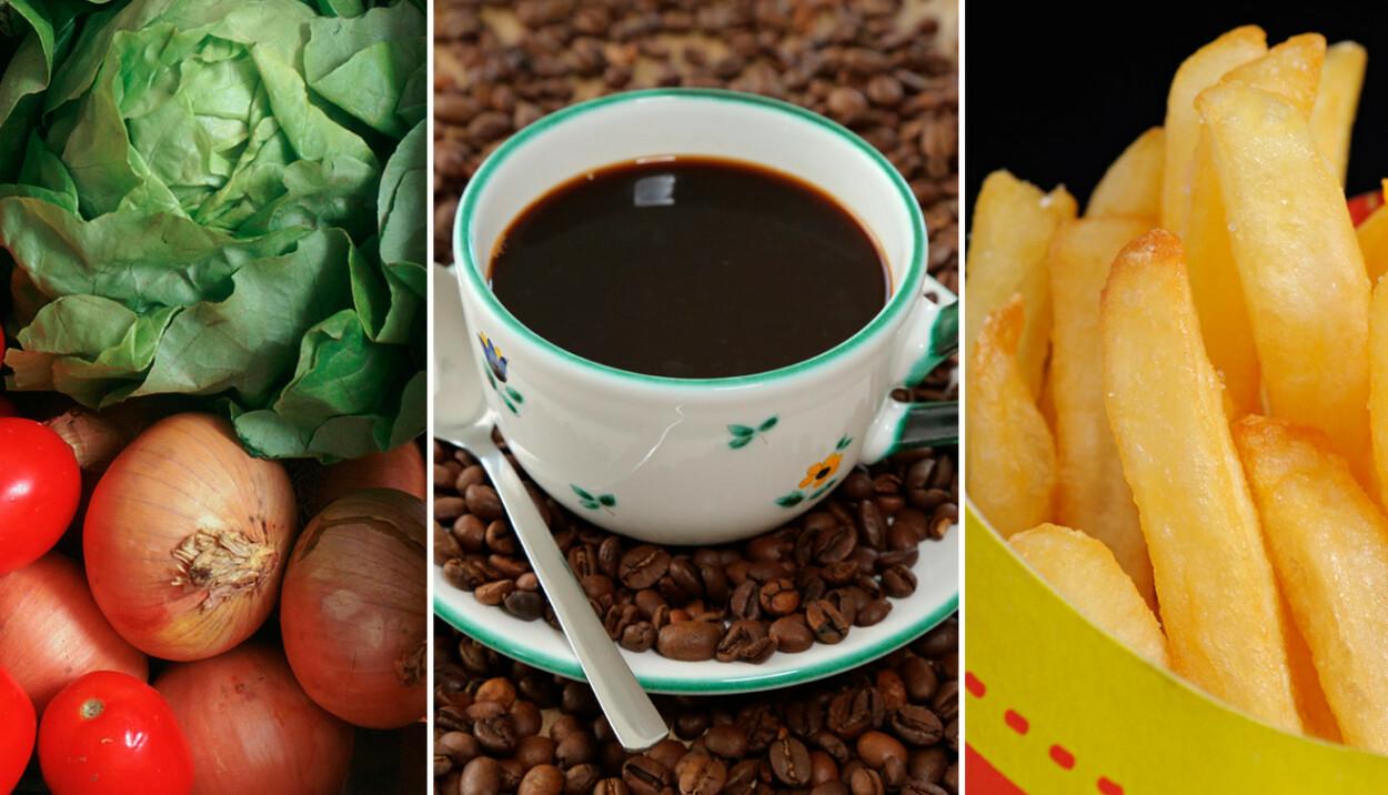 NEI-MAT: Tomater, kål, løk, kaffe og fettrik mat kan gi økt plager ved halsbrann. Foto: NTB Scanpix/Rex Shutterstock