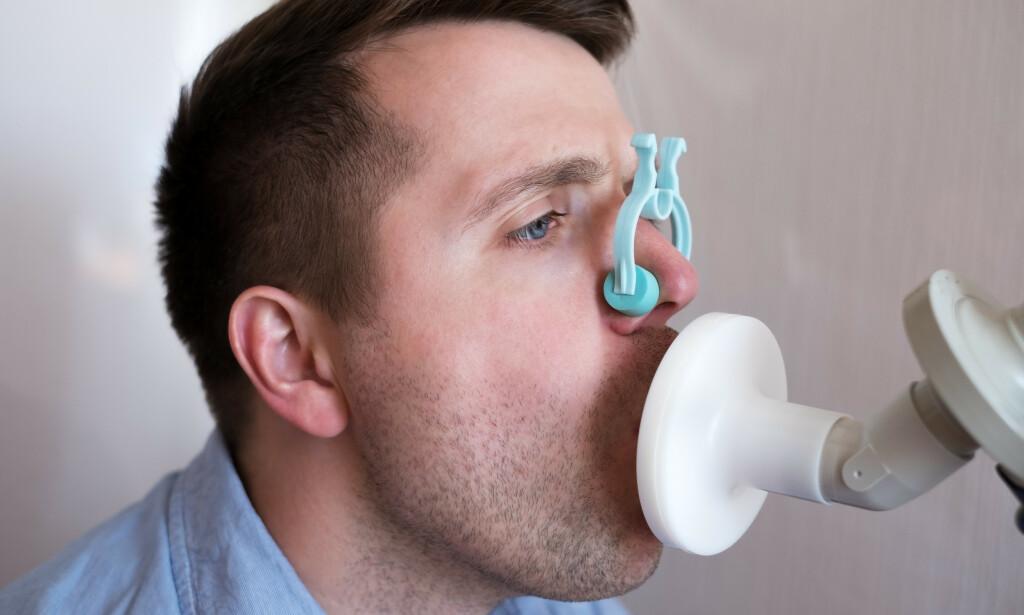 SPIROMETRI: Spirometri, også kalt pusteprøve, er en undersøkelse av lungefunksjonen. Foto: NTB Scanpix/Shutterstock
