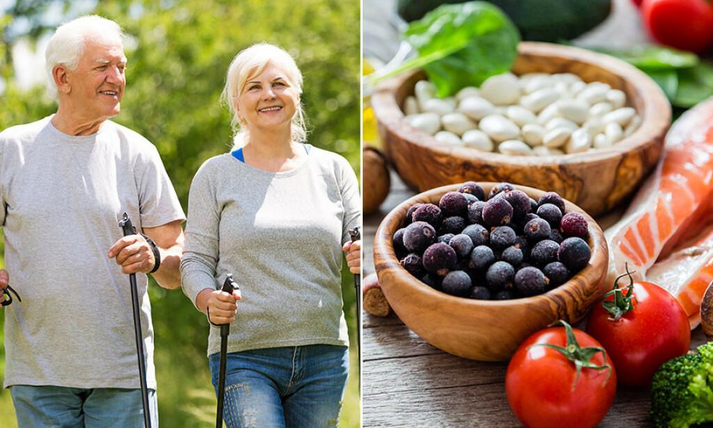DETTE HJELPER: Trim, sunn mat, og livsstil. Foto: pikselstock og Oleksandra Naumenko / Shutterstock / NTB