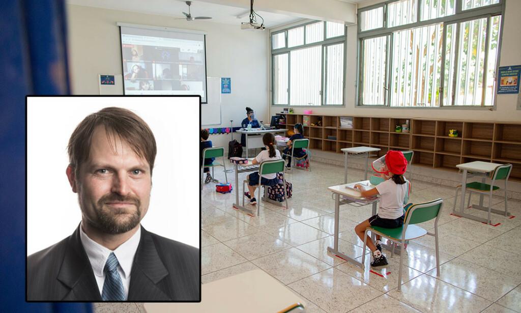 PRIVATE SKOLER: Kun et fåtall barn får oppleve dette. Den offentlige skolen har holdt stengt siden mars. Foto: Myke Sena/Fotoarena/Sipa USA / NTB Innfelt: Christian A. Kramer.