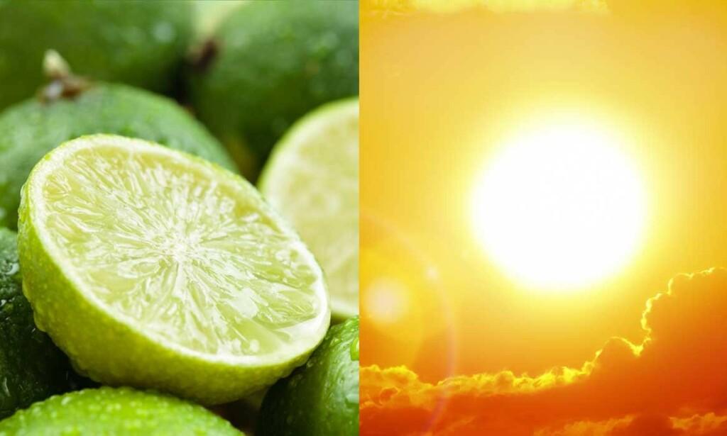 LIME OG SOL: Vask vekk limesaft fra huden - spesielt hvis du er utendørs i sol! Foto: Vitalina Rybakova / Ed Connor / Shutterstock / NTB