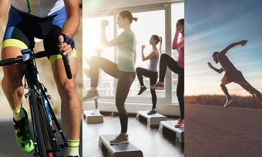 EFFEKTIVT: Sykling, steptrening og løping kommer høyt opp på lista som effektiv treningsform for å forbrenne kalorier. Foto: Pavel1964 / Syda Productions / sutadimages / NTB