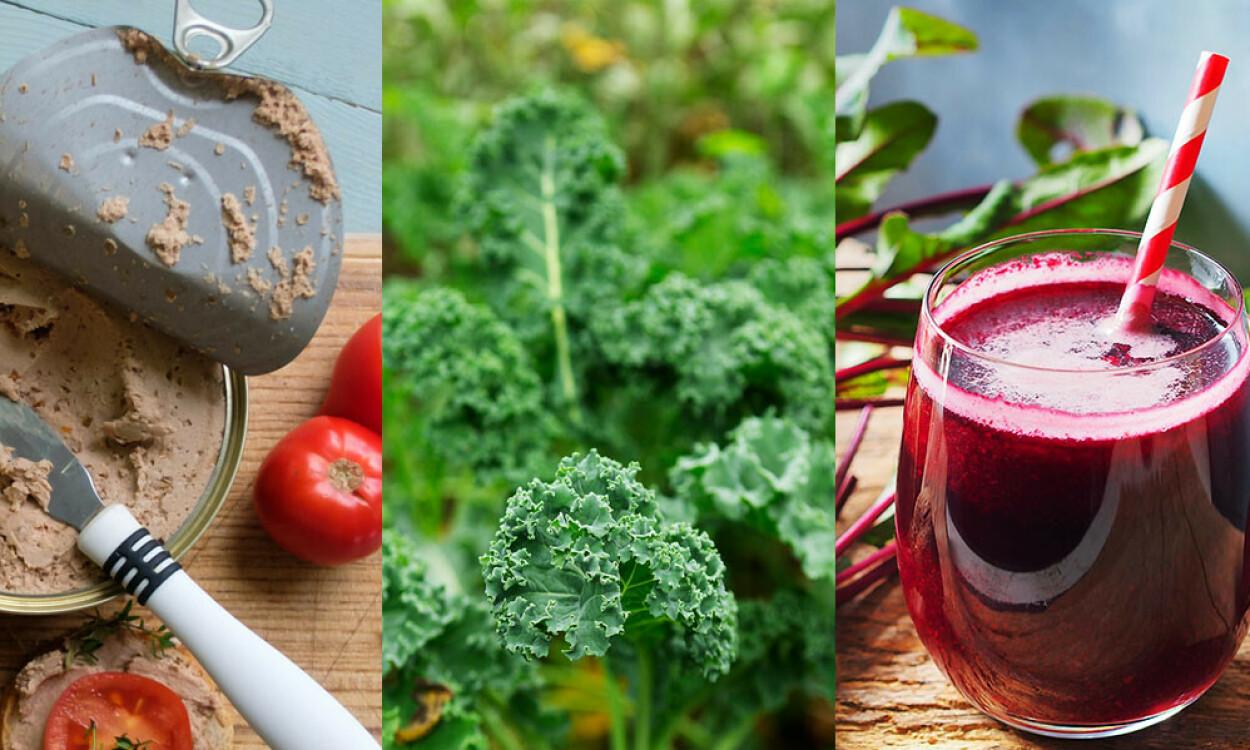 RIK PÅ JERN: Leverpostei, grønnkål og rødbetejuice er matvarer med høyt innhold av jern. Foto: Smit / Danilova Janna / pada smith / Shutterstock / NTB